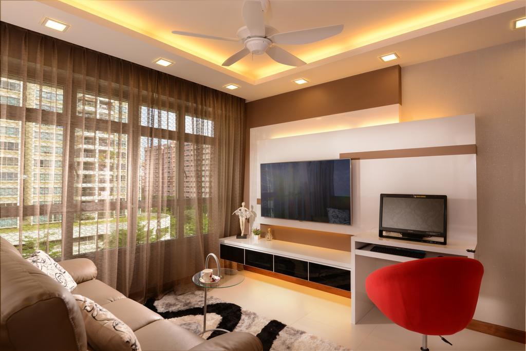 Modern, HDB, Living Room, Tampines Central 7, Interior Designer, Darwin Interior