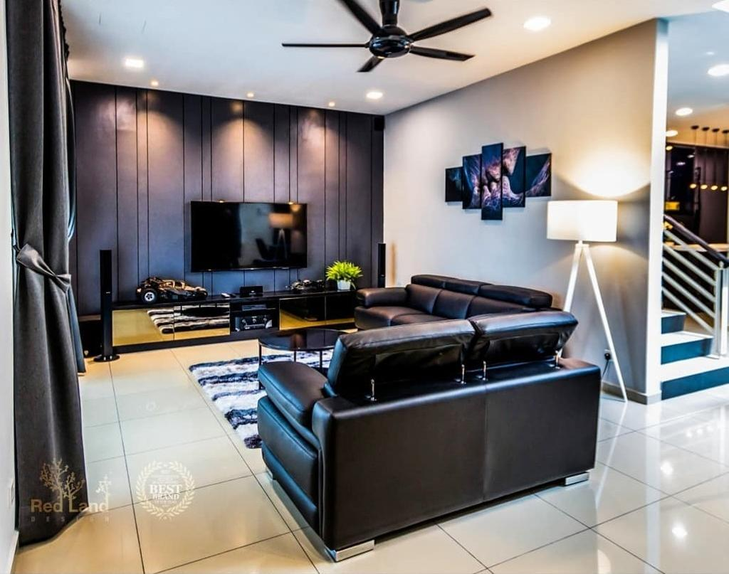 Modern, Landed, Living Room, Ridgewood, Taman Bercham Permai Perak, Interior Designer, Red Land Design
