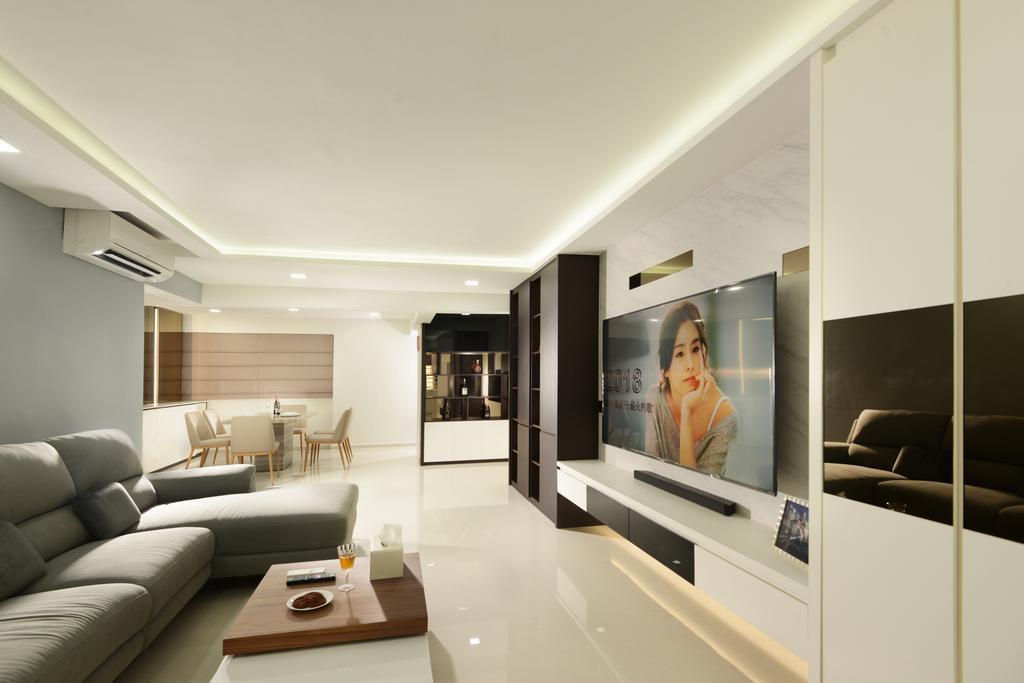 Modern, HDB, Living Room, Yishun Street 21, Interior Designer, Darwin Interior