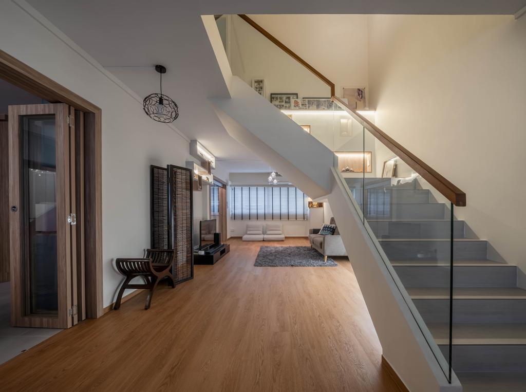 Contemporary, HDB, Living Room, Serangoon Central, Interior Designer, Zenith Arc, Modern, Maisonette, Staircase, Stairs