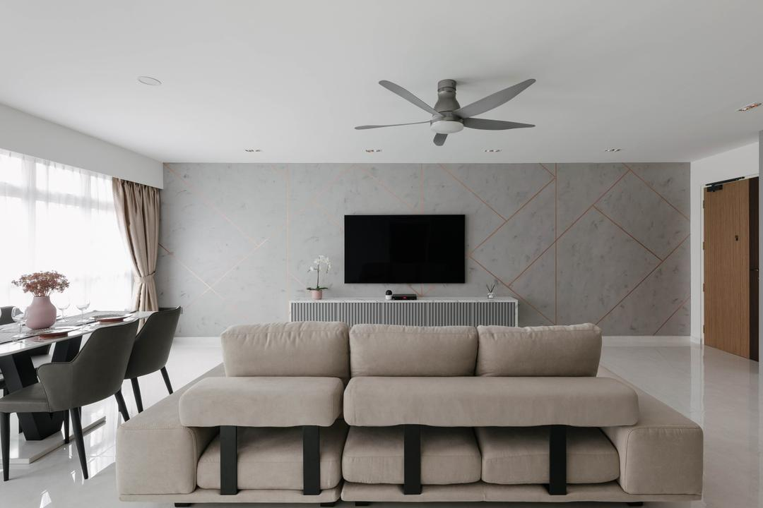 "How a 75"" TV Inspired the Most Marble-lous HDB Home Ever"