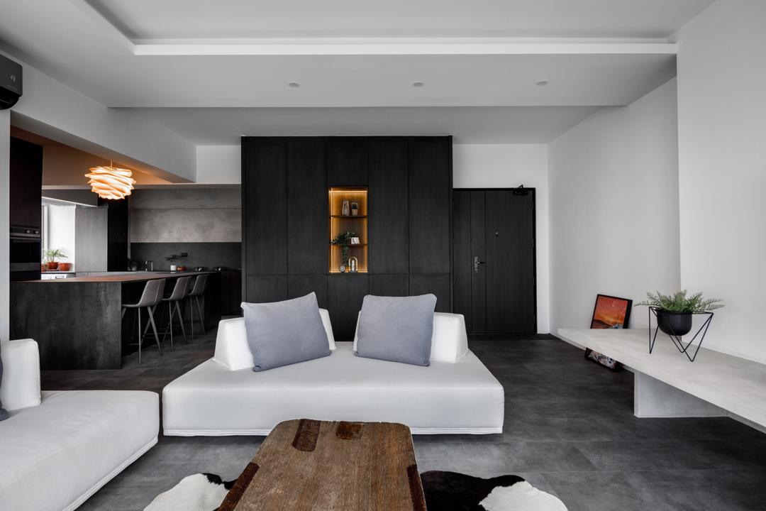 Tampines (Block 494), The Local INN.terior 新家室, Contemporary, Living Room, HDB, Monotone, Open Living, Open Concept, Black And White, Monochrome, Flexi Spaces
