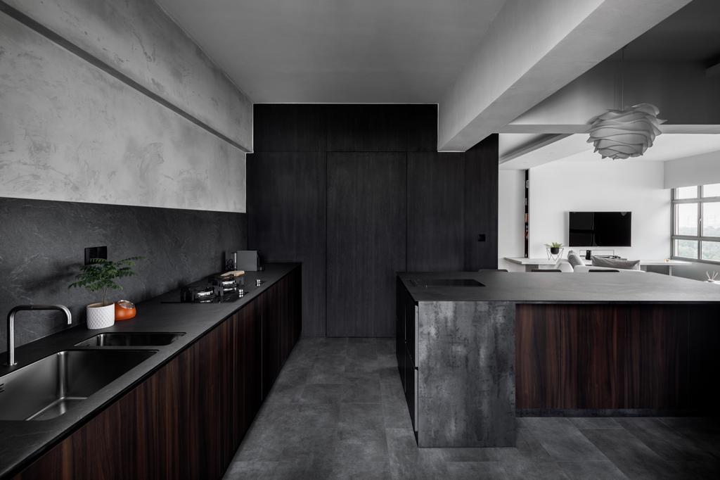 Contemporary, HDB, Kitchen, Tampines (Block 494), Interior Designer, The Local INN.terior 新家室, Kitchen Island, Open Kitchen, Open Concept