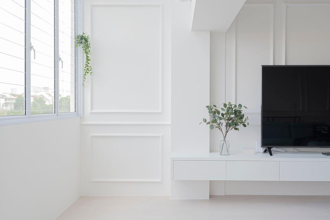 Hougang Avenue 8, Fifth Avenue Interior, Scandinavian, Modern, Balcony, HDB, Indoor Balcony, Maisonette, Monotone, All White