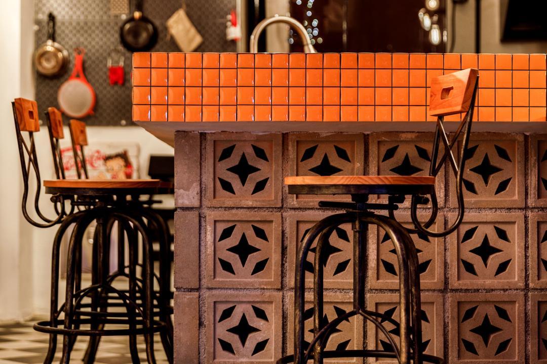 Tampines Street 23, Fifth Avenue Interior, Eclectic, Kitchen, HDB, Kitchen Peninsula, Kitchen Counter, Ventilation Bricks