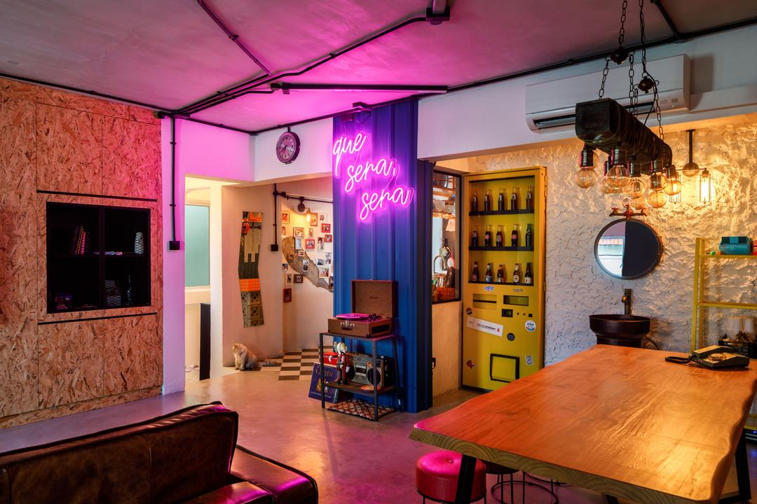 Tampines Street 23, Fifth Avenue Interior, Eclectic, Living Room, HDB, Neon Sign