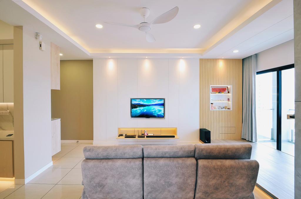 Modern, Condo, Living Room, Sky Condo Residence, Puchong, Interior Designer, The Grid Studio, Contemporary