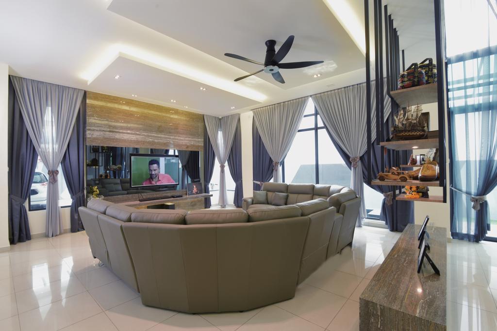 Modern, Landed, Living Room, Laman Villa Residence, Klang, Interior Designer, The Grid Studio, Contemporary