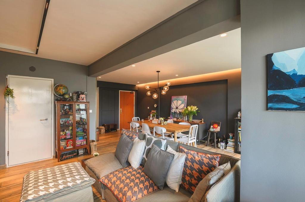 Industrial, HDB, Living Room, Punggol, Interior Designer, Le Interi, Eclectic