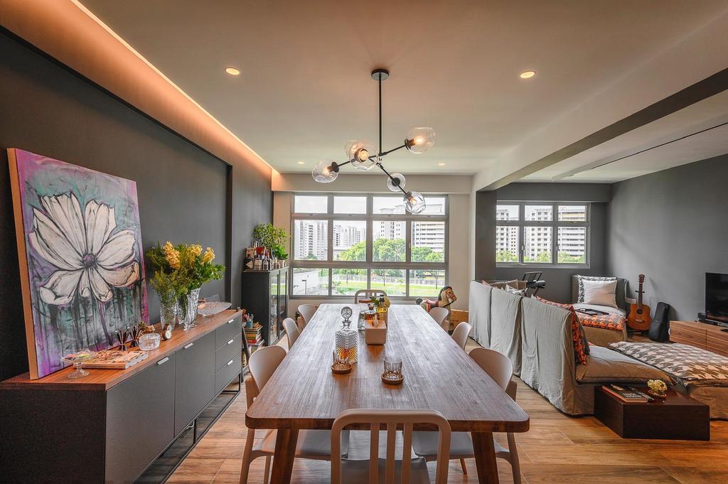 Industrial, HDB, Dining Room, Punggol, Interior Designer, Le Interi, Eclectic