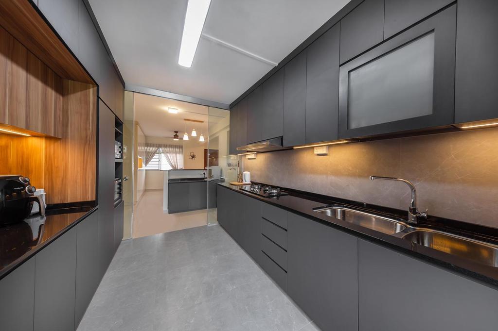 Modern, HDB, Kitchen, Marsiling, Interior Designer, Le Interi