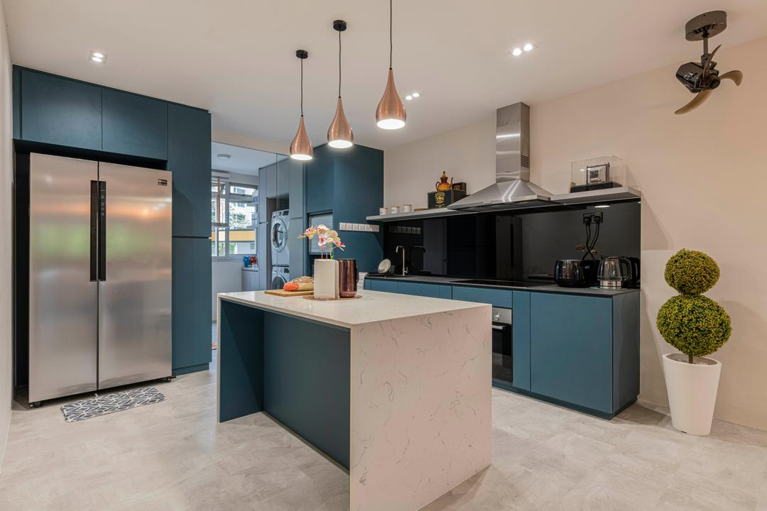 Teck Whye Lane, Escapade Studios, Contemporary, Kitchen, HDB, Kitchen Island, Open Kitchen, Teal, Blue
