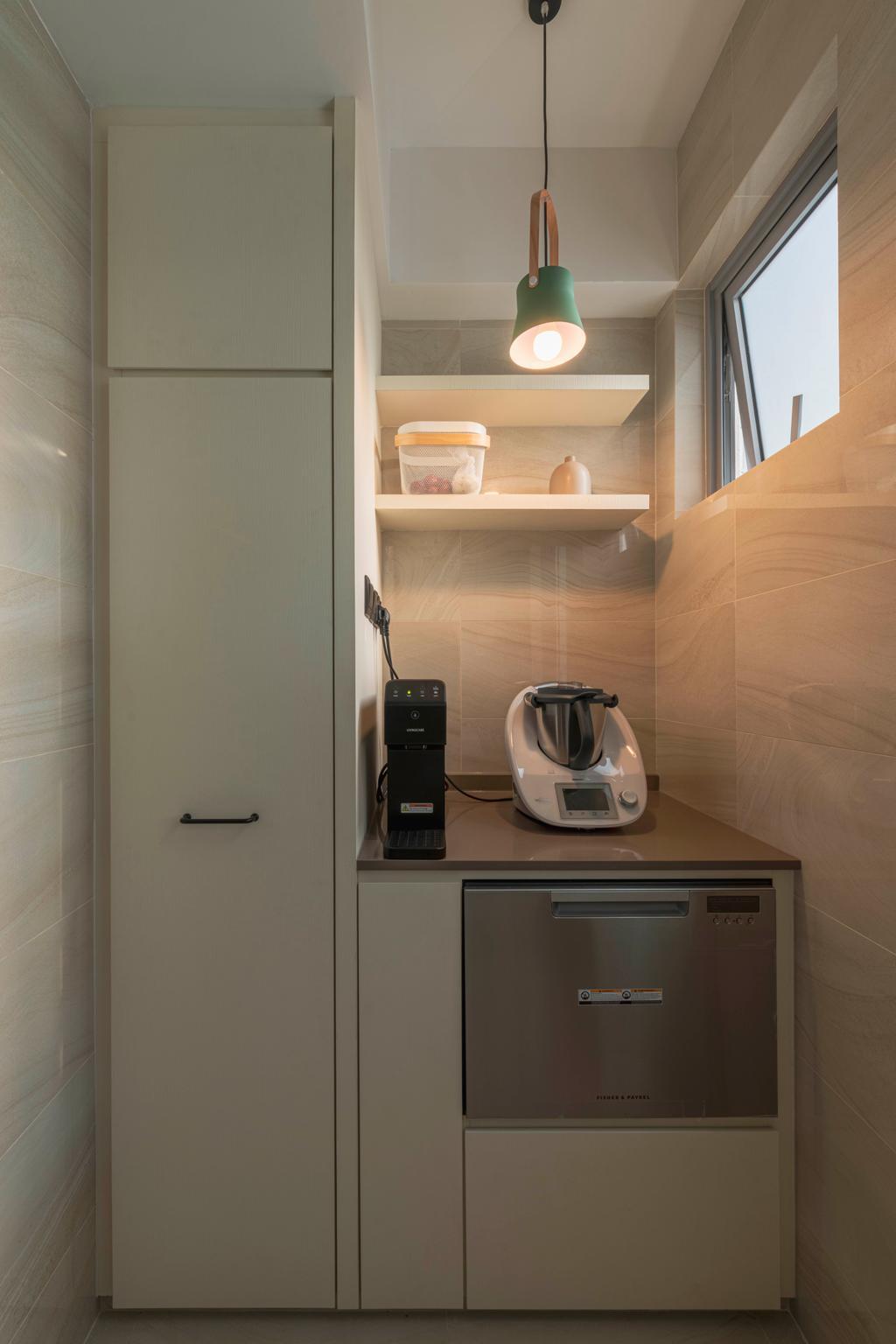 Contemporary, Condo, Kitchen, High Park Residences, Interior Designer, Escapade Studios, Yard, Kitchen Yard, Service Yard, Laundry, Laundry Room