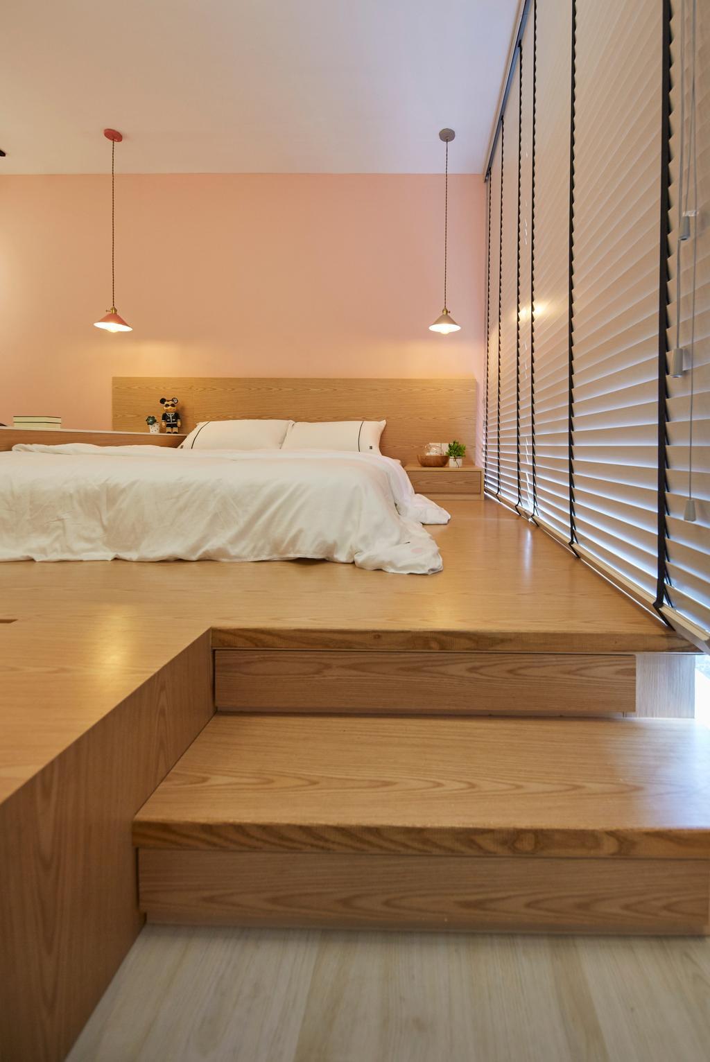 Contemporary, Condo, Bedroom, Bellewaters, Interior Designer, LS2 Design & Construction, Industrial, Platform Bed, Platform, Storage