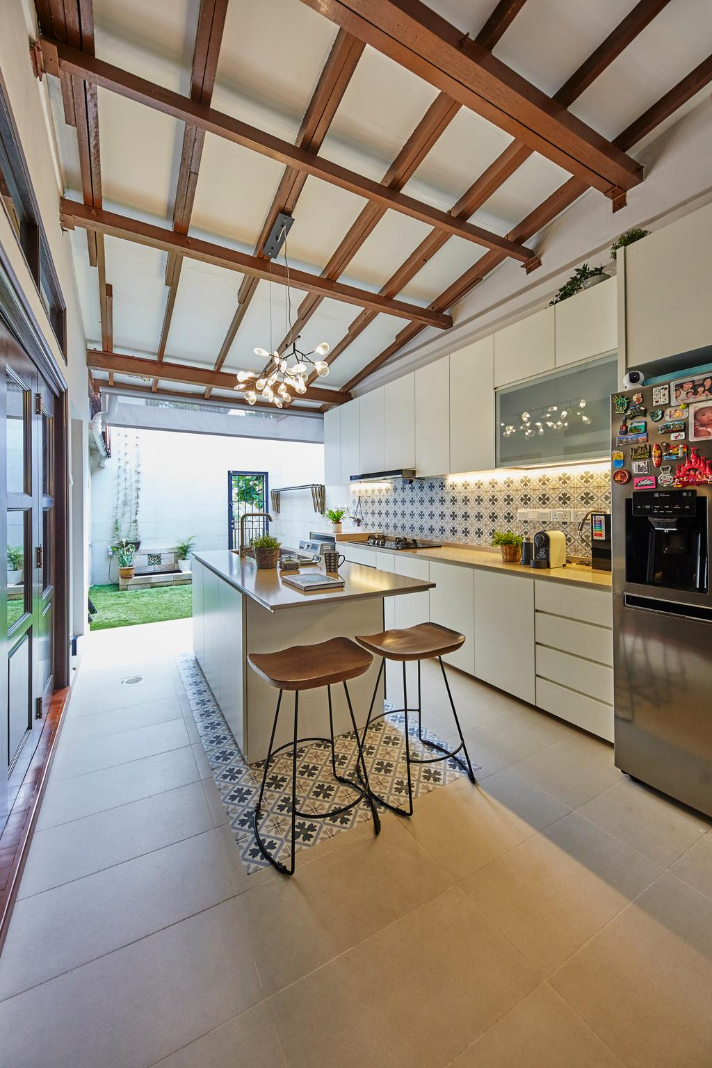 Contemporary, Landed, Kitchen, Shrewsburry Road, Interior Designer, LS2 Design & Construction, Farmhouse, Kitchen Island, Wooden Beams