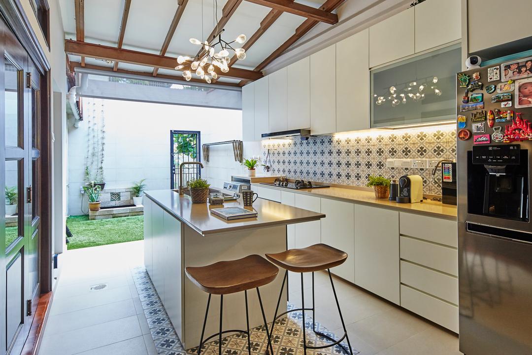 Shrewsburry Road, LS2 Design & Construction, Contemporary, Kitchen, Landed, Farmhouse, Kitchen Island, Wooden Beams
