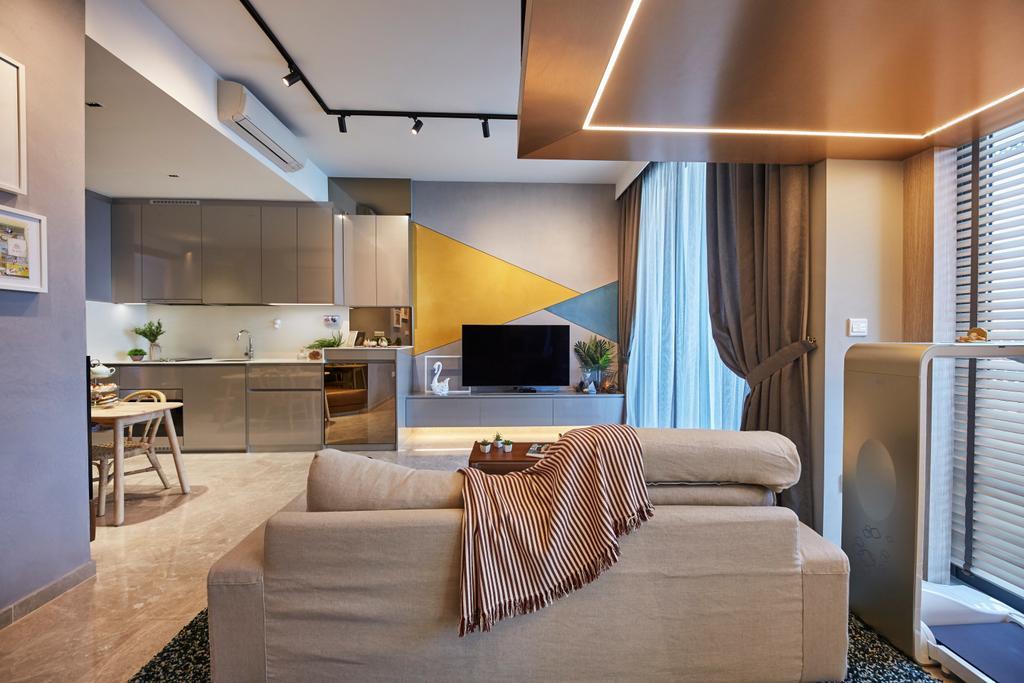 Contemporary, Condo, Living Room, City Gate, Interior Designer, LS2 Design & Construction