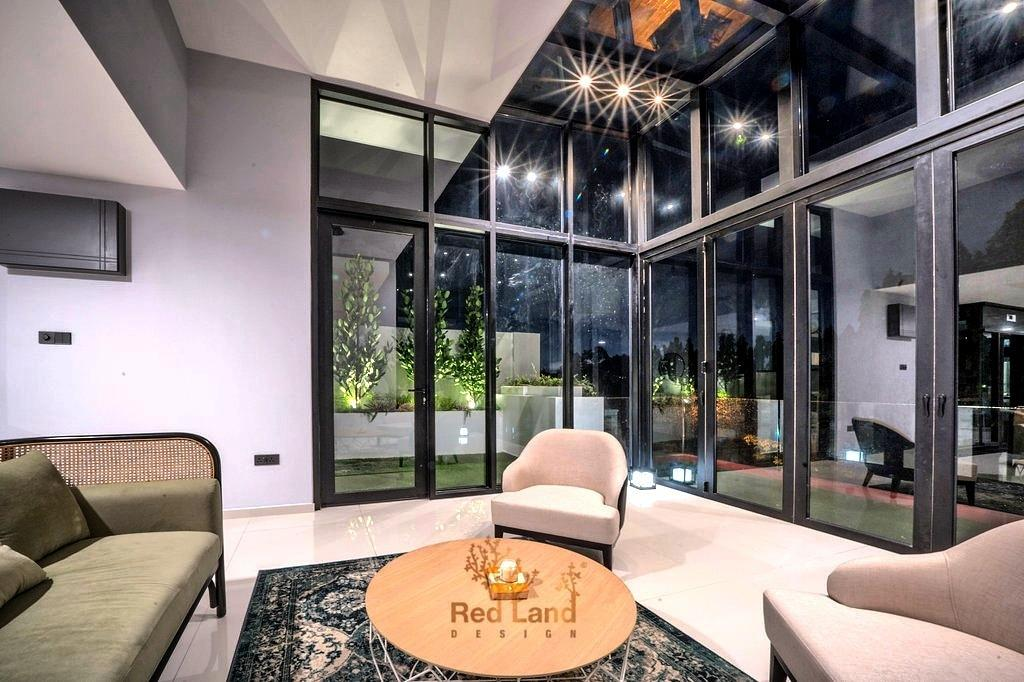 Eclectic, Landed, Living Room, Golf View Residence, Perak, Interior Designer, Red Land Design