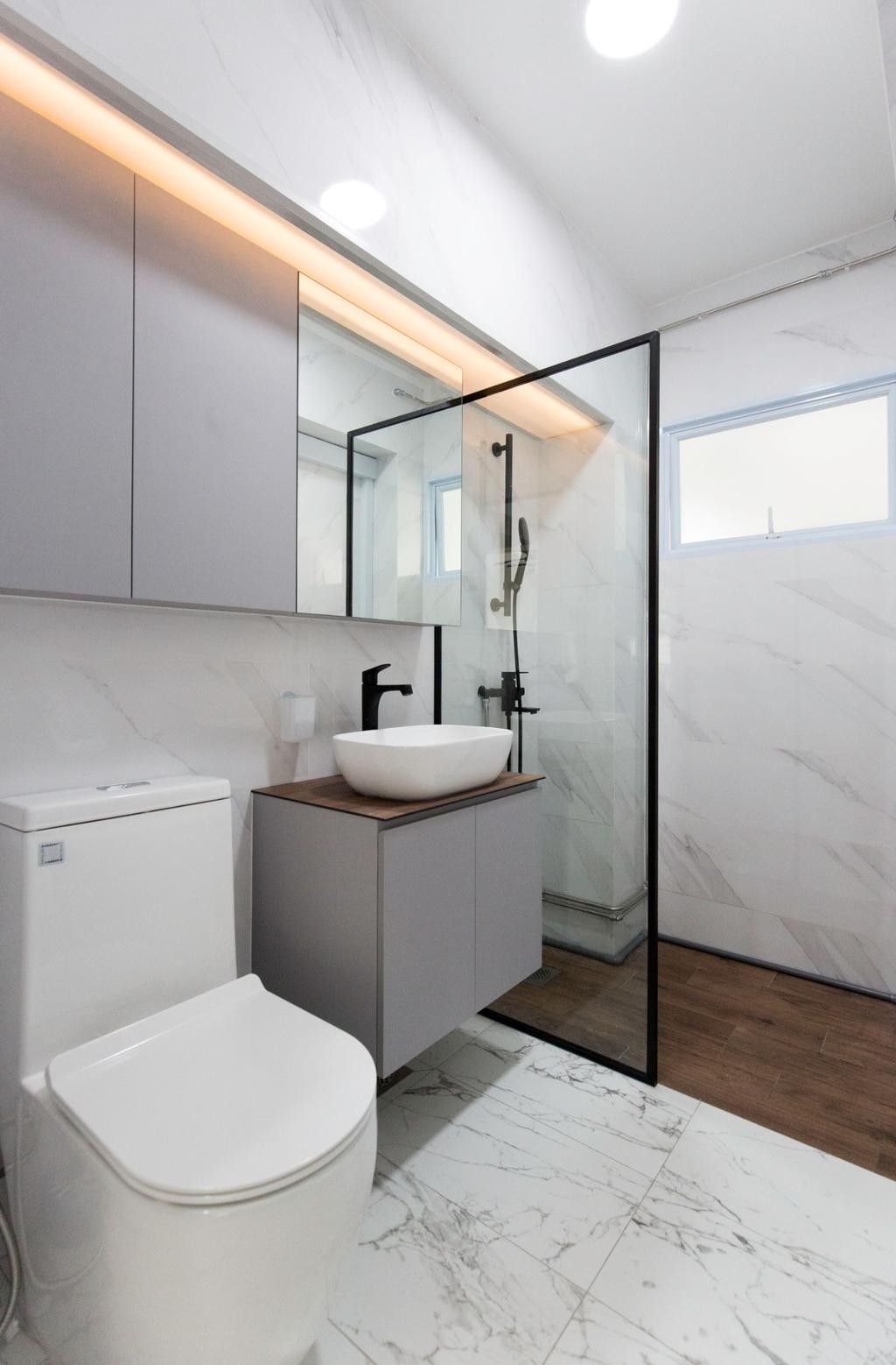 Contemporary, HDB, Bathroom, Jurong West Street 81, Interior Designer, Carpenters 匠, Minimalistic