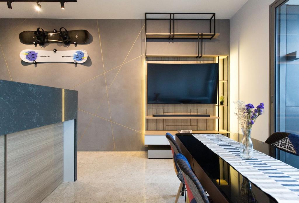 Contemporary, Condo, Living Room, Echelon, Interior Designer, Carpenters 匠