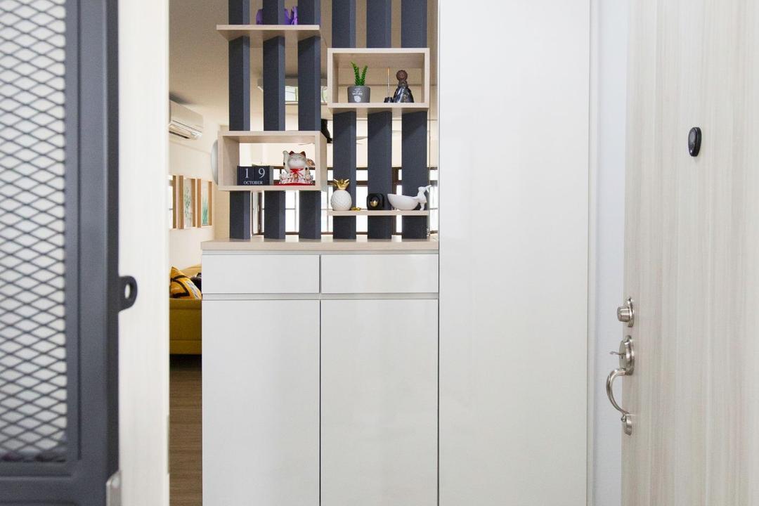 Geylang Bahru, Carpenters 匠, Scandinavian, Living Room, HDB, Foyer, Shoe Cabinet, Entrance, Cabinet, Doorway