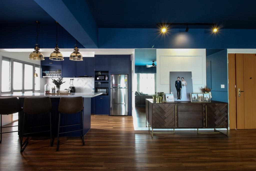 Contemporary, HDB, Living Room, Canberra Walk, Interior Designer, Carpenters 匠, Blue
