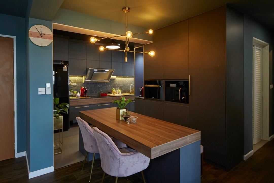 Anchorvale Road, Carpenters 匠, Contemporary, Dining Room, HDB, Kitchen Island, Bar Counter, Bar