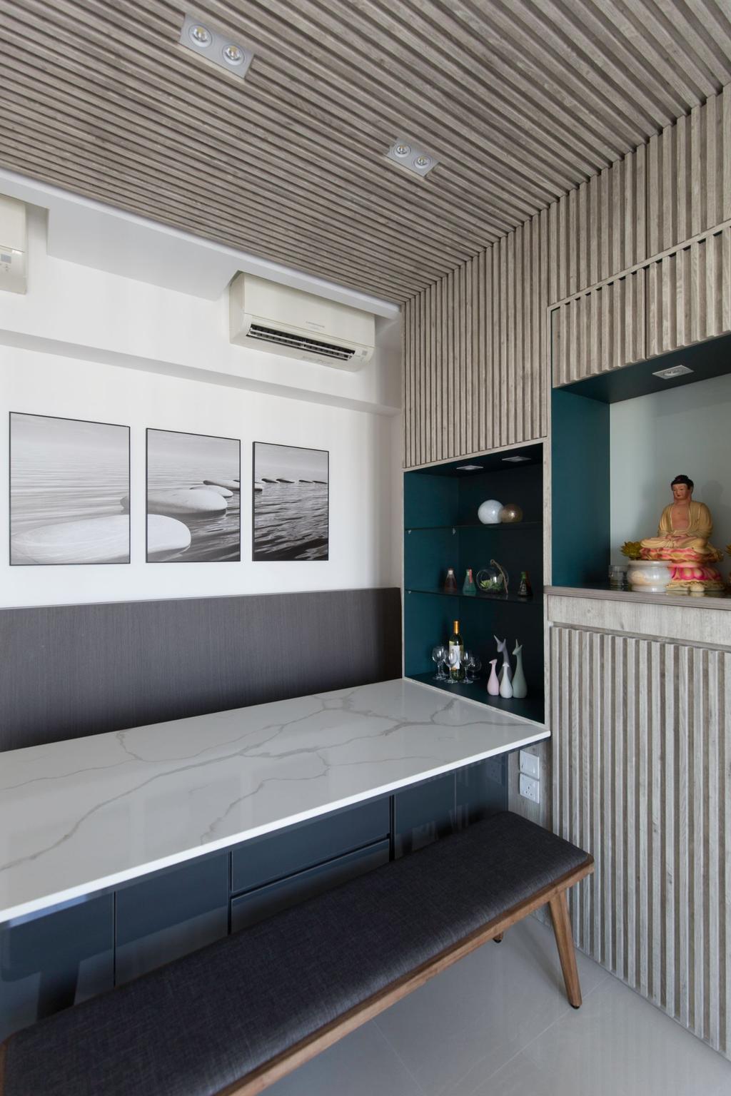 Contemporary, Condo, Dining Room, H2O Residences, Interior Designer, Carpenters 匠, Altar, Praying Altar