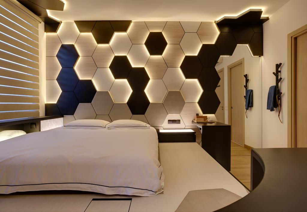 Contemporary, Landed, Bedroom, Belgravia Villas, Interior Designer, The Design Practice, Feature Wall, Honeycomb Tiles, Wall Light, Lighted Wall