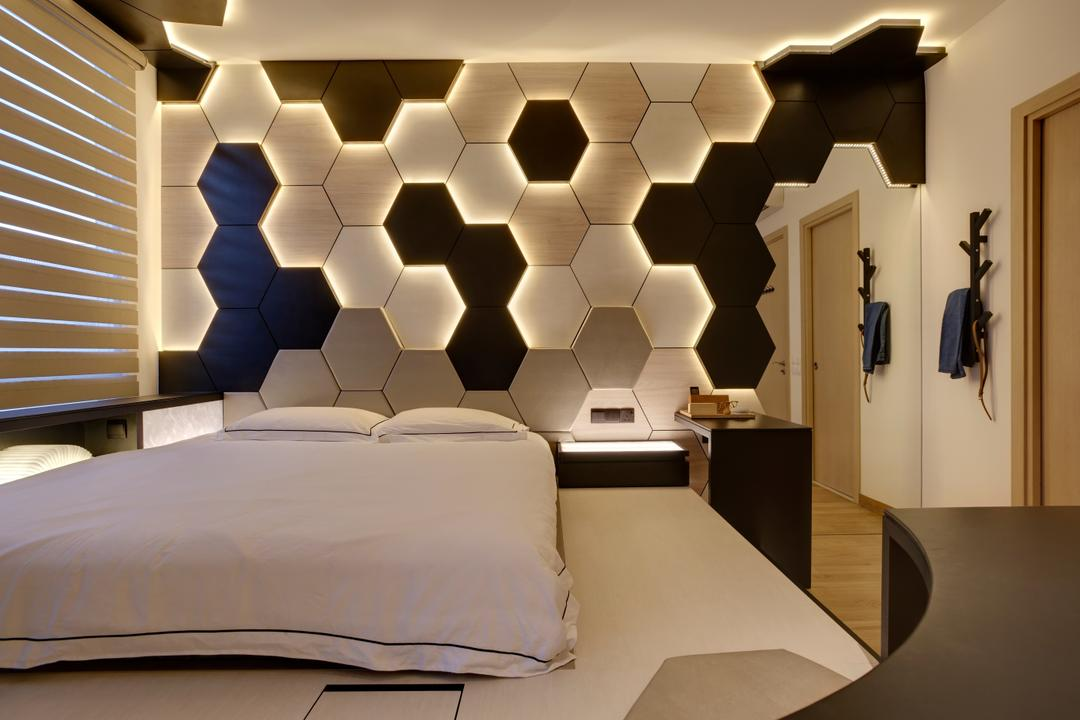 Belgravia Villas, The Design Practice, Contemporary, Bedroom, Landed, Feature Wall, Honeycomb Tiles, Wall Light, Lighted Wall