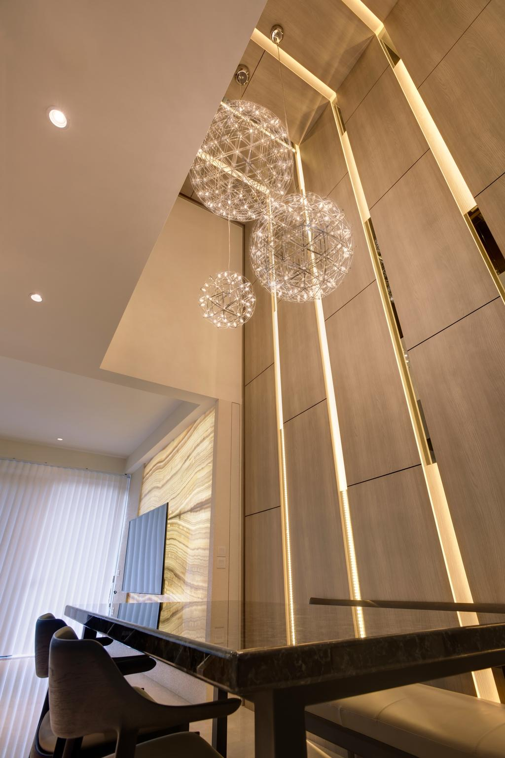 Contemporary, Landed, Dining Room, Belgravia Villas, Interior Designer, The Design Practice, High Ceiling, Wall Lights