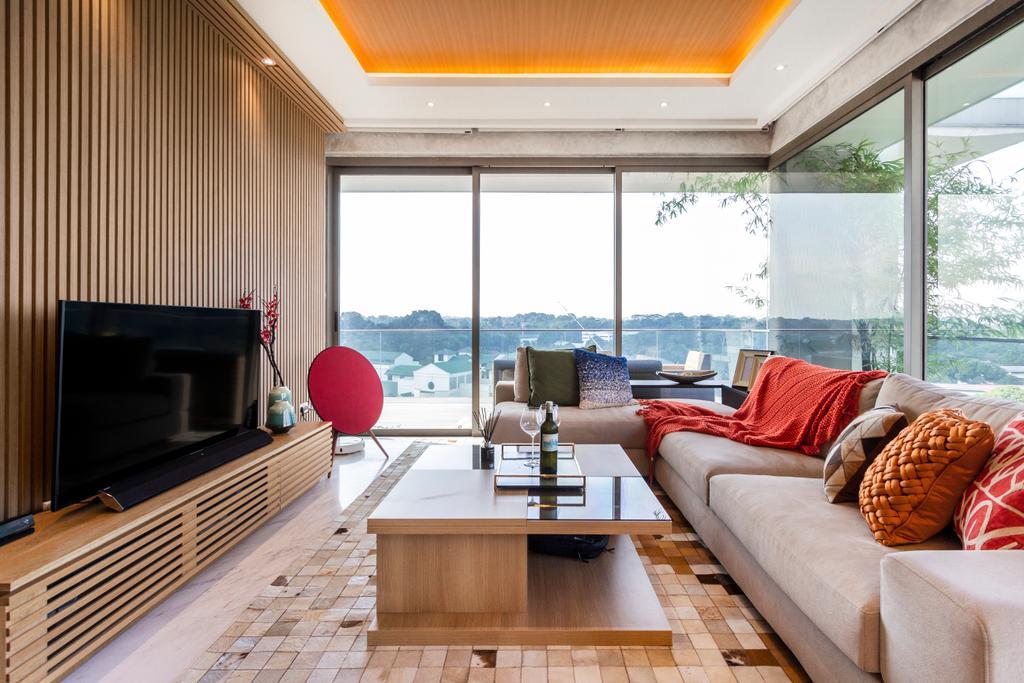 Modern, Condo, Living Room, One Robin, Interior Designer, Mr Shopper Studio, Wood Panelling, Feature Wall, Media Console, Tv Console
