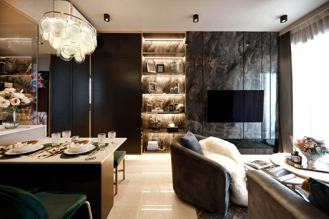 Botanique At Bartley, Mr Shopper Studio, Contemporary, Modern, Eclectic, Living Room, Condo, Feature Wall, Marble Wall