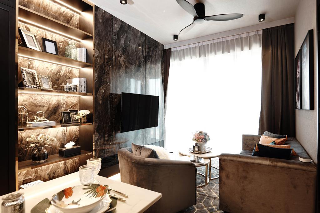 Contemporary, Condo, Living Room, Botanique At Bartley, Interior Designer, Mr Shopper Studio, Modern, Eclectic, Marble Wall