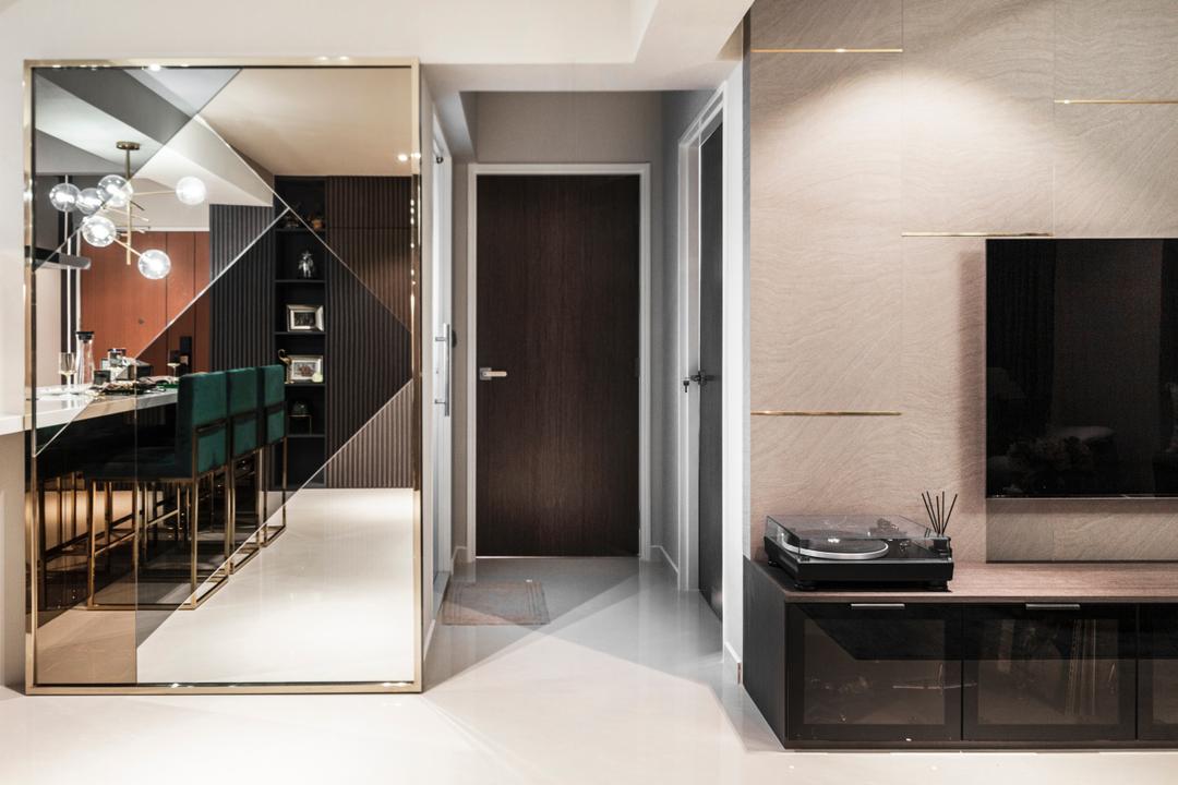 Circuit Road, Mr Shopper Studio, Contemporary, Modern, HDB, Corridor, Hallway, Mirror Wall, Mirror