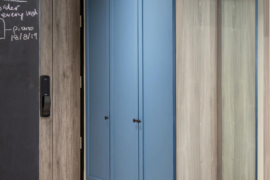 Cambridge Road, Prozfile Design, Contemporary, Living Room, HDB, Foyer, Entrance, Shoe Cabinet, Shoe Settee, Shoe Storage