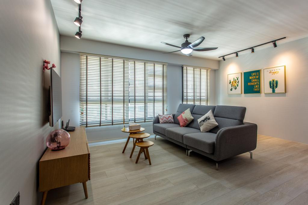 Contemporary, HDB, Living Room, Compassvale Crescent, Interior Designer, Luova Project Services