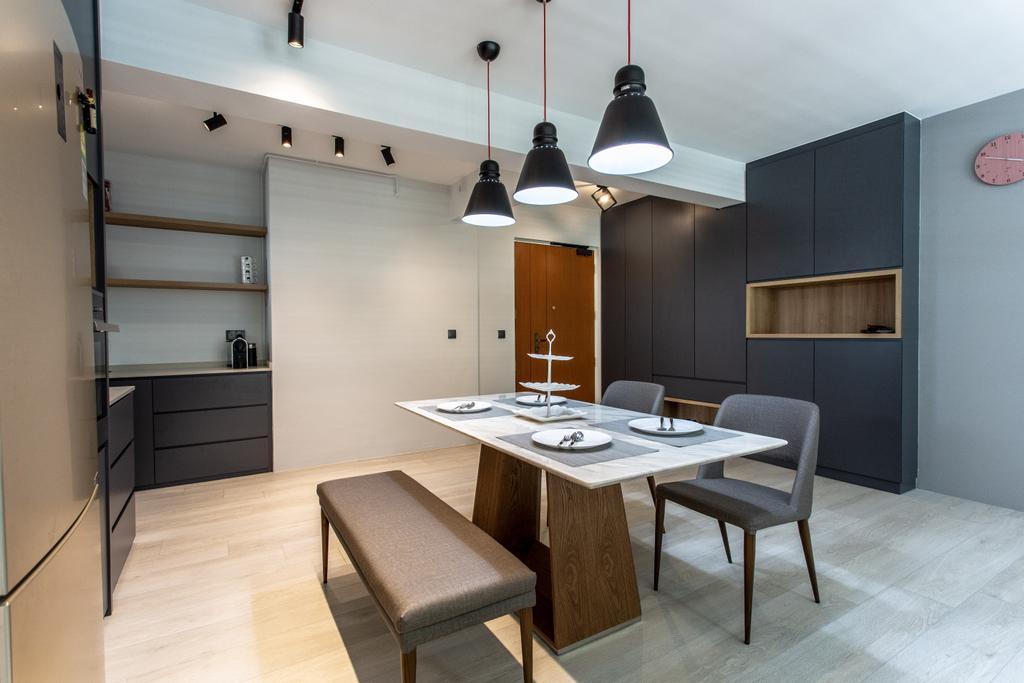 Contemporary, HDB, Dining Room, Compassvale Crescent, Interior Designer, Luova Project Services