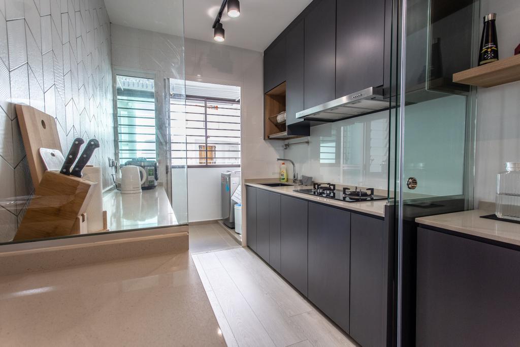 Contemporary, HDB, Kitchen, Compassvale Crescent, Interior Designer, Luova Project Services