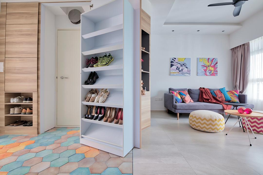 Telok Blangah Heights, Free Space Intent, Eclectic, Scandinavian, Living Room, HDB, Storeroom, Household Shelter, Store, Bomb Shelter, Shoe Storage, Storage, Shoe Cabinet