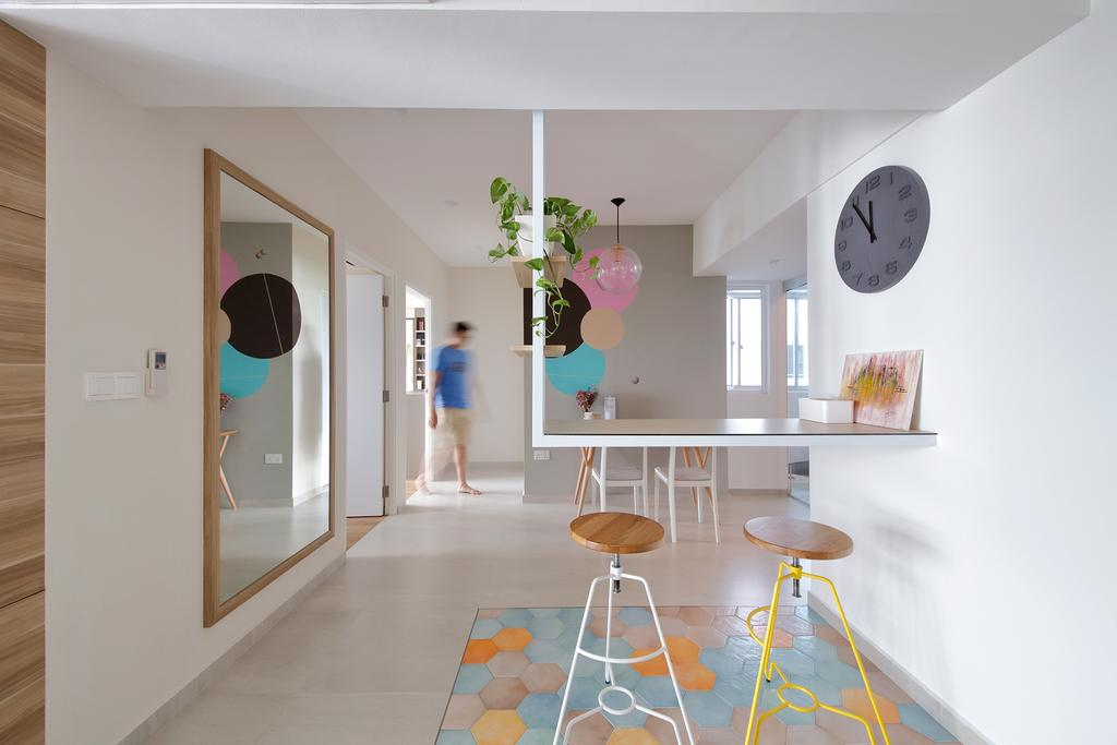 Eclectic, HDB, Dining Room, Telok Blangah Heights, Interior Designer, Free Space Intent, Scandinavian, Bar Table, Overhanging Table, Suspended Table, Bar, Pastels, Colours