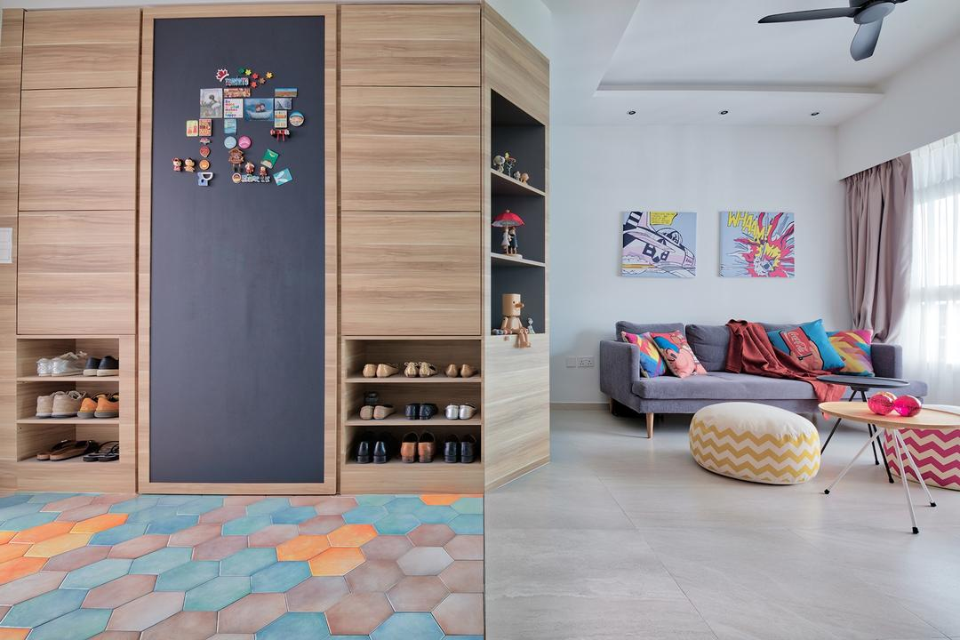 Telok Blangah Heights, Free Space Intent, Eclectic, Scandinavian, Living Room, HDB, Blackboard, Chalk Board, Shoe Cabinet