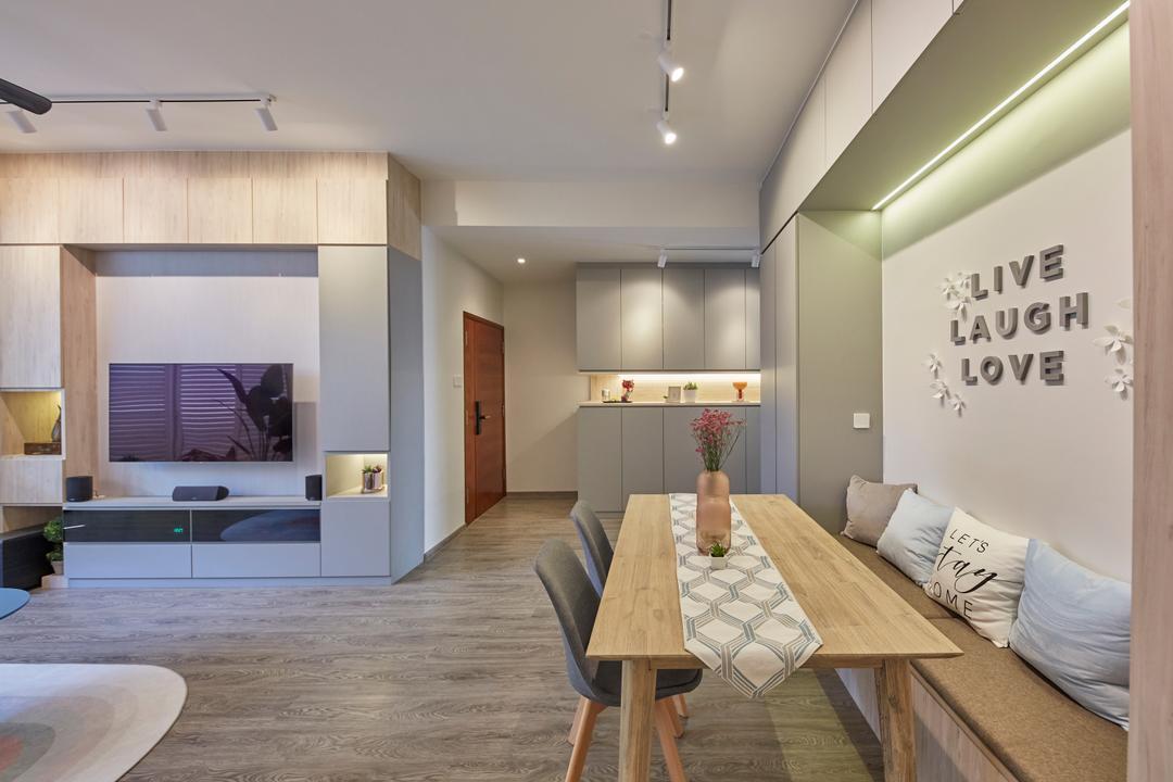 Veranda, The Interior Lab, Modern, Minimalistic, Dining Room, Condo, Settee, Dining Settee, Overhead Storage