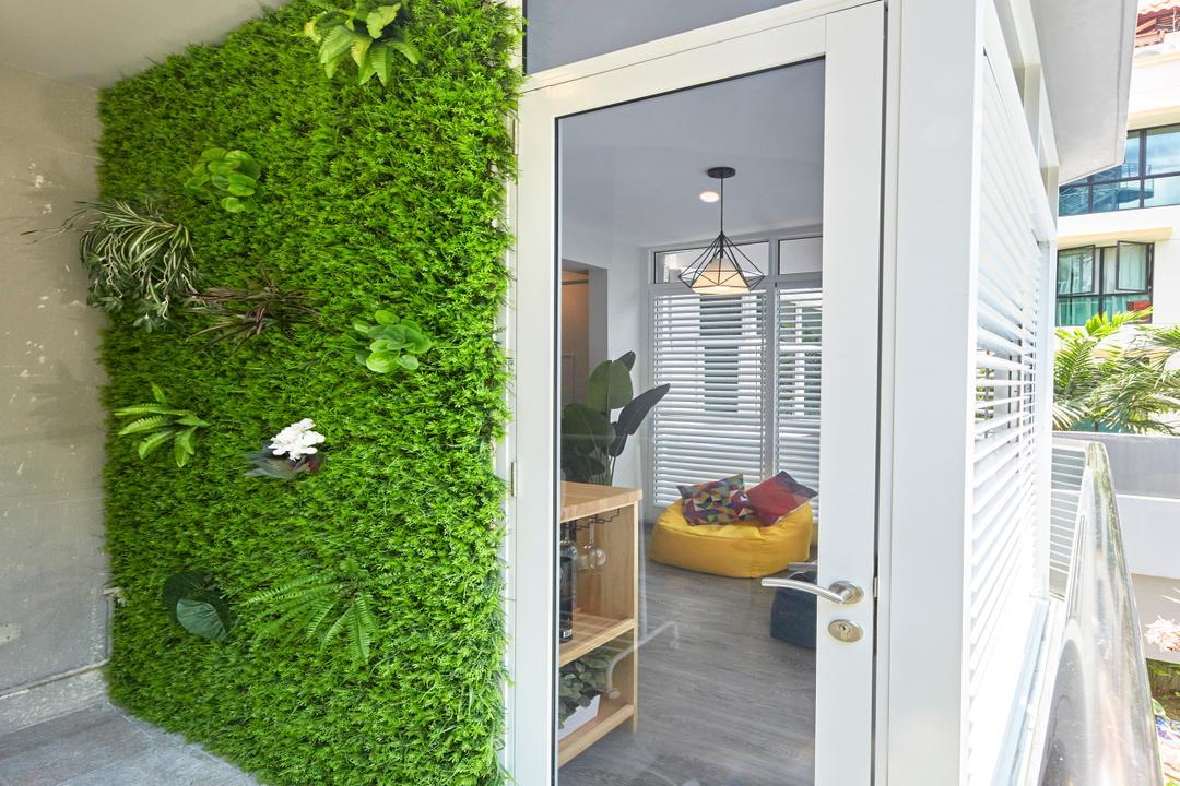 Veranda, The Interior Lab, Modern, Minimalistic, Balcony, Condo, Vertical Garden, Garden Wall, Decking, Outdoor