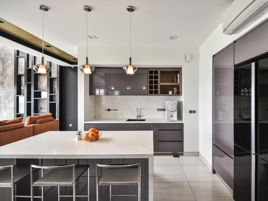 Contemporary, Condo, Kitchen, The Plaza Condominium, TTDI, Interior Designer, Ee Design Studio, Kitchen Island, Island, Countertop