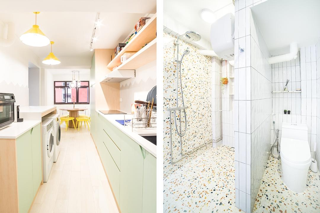 This 3-Room Bachelor Pad Says 'Yes!' to Pastels and Terrazzo