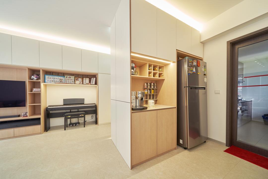 INZ Residences, Ovon Design, Modern, Kitchen, Condo, Dry Kitchen, Coffee Machine, Appliances, Wine Cabinet