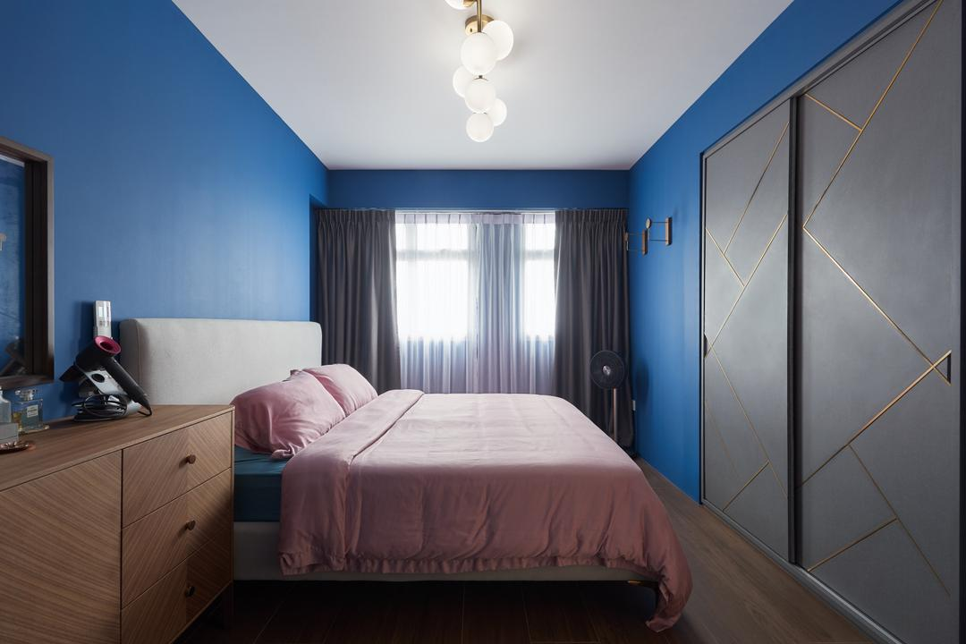 St. George's Lane, Dyel Design, Contemporary, Bedroom, HDB, Blue Wall