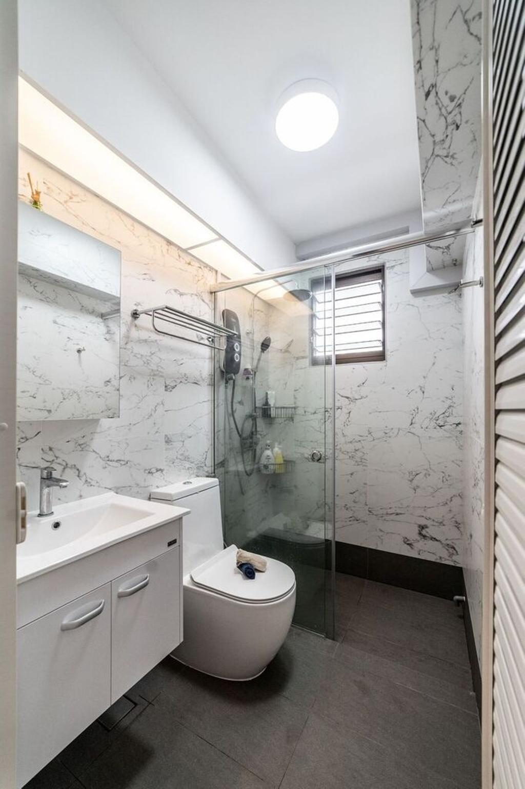 Contemporary, HDB, Bathroom, Bedok North Road, Interior Designer, Luova Project Services