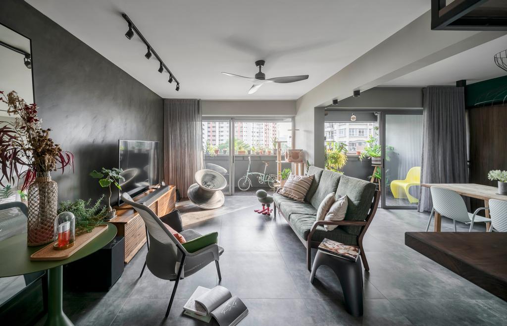 Industrial, HDB, Living Room, Kent Road, Interior Designer, Ethereall